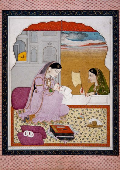 Indian Art: Lady Writing a Love Letter. Fine Art Print/Poster. Sizes: A4/A3/A2/A1 (0052)